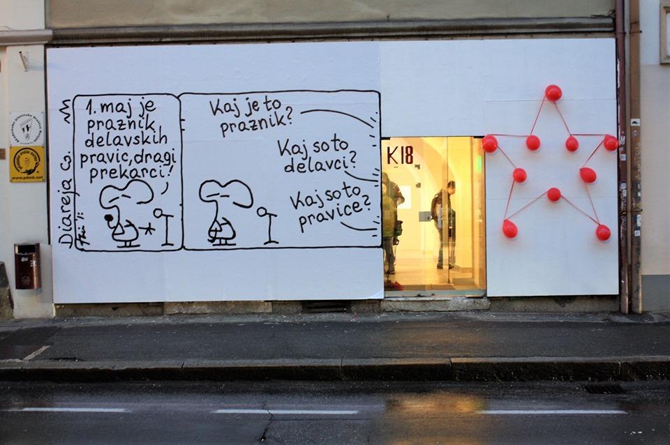 Na fasadi Galerije K18 na ogled prvomajska Diareja